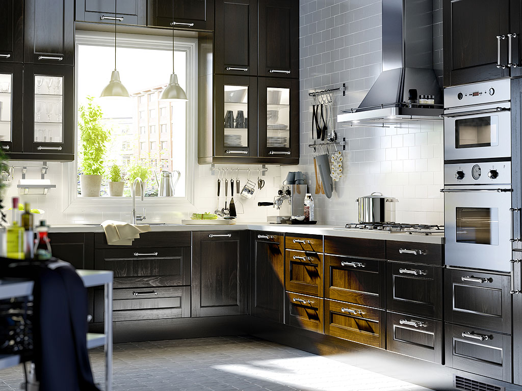 floor-interesting-black-and-white-kitchen-decoration-using-black-wood-kitchen-cabinet-including-kitchen-ikea-white-flooring-also-with-small-white-stainless-steel-dome-kitchen-pendant-lamp-and-small-pl